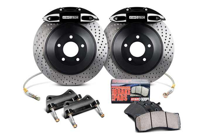 312x25mm, Audi A3 (8L) 1996-2003, 82.886.5100.52, StopTech Touring Big Brake Kit, Front Axle, 1-piece Rotor, Drilled, Black 4-Piston Caliper, 5x100