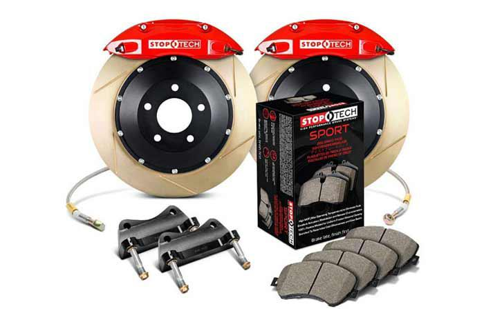 355x32mm, Seat Leon Cupra R (1P) 2009-2012, 83.893.4700.73, StopTech Sport Big Brake Kit, Front Axle, 2-piece Rotor, Slotted and Zinc Coated, Red 4-Piston Caliper, 5x112