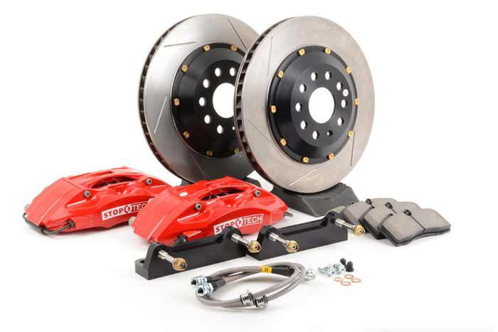 332x32mm, Nissan 240SX (S14) 1994-99, 83.654.4600.71, StopTech Sport Big Brake Kit, Front Axle, 2-piece Rotor, Slotted, Red 4-Piston Caliper, 5x114,3
