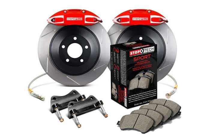 328x25mm, Skoda Octavia RS (1Z) 2006-2013, 82.893.5N00.71, StopTech Touring Big Brake Kit, Front Axle, 1-piece Rotor, Slotted, Red 4-Piston Caliper, 5x112