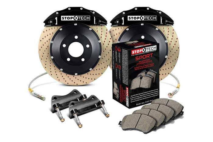 355x32mm, Audi TT 2.0 Turbo (8J) 2006-, 83.895.6700.54, StopTech Sport Big Brake Kit, Front Axle, 2-piece Rotor, Drilled and Zinc Coated, Black 6-Piston Caliper, 5x112