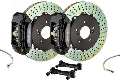 Brembo Big Brake Kit Black, 280x28mm 2-Piece rotor Drilled, 4 piston caliper, Brembo A Caliper, Abarth, 500 1.4 T-Jet 16V Front (EU version), 2008-