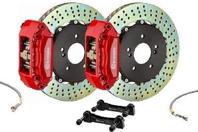 Brembo Big Brake Kit Red, 280x28mm 2-Piece rotor Drilled, 4 piston caliper, Brembo A Caliper, Abarth, 500 1.4 T-Jet 16V Front (EU version), 2008-