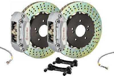 Brembo Big Brake Kit Silver, 280x28mm 2-Piece rotor Drilled, 4 piston caliper, Brembo A Caliper, Abarth, 500 1.4 T-Jet 16V Front (EU version), 2008-