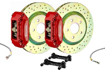Brembo Big Brake Kit Red, 305x28mm 1-Piece  rotor Drilled, 4 piston caliper, Brembo A Caliper, Alfa Romeo, 156 / Sportwagon All models Front, 2000-2007