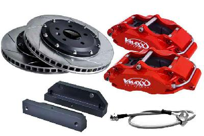 20 AR330 01X, V-Maxx Big brake kit 330mm, Red painted aluminium 4-pots caliper, 164 Alle vanaf 92 KW tot 148/150 KW / 2.5TD 92 KW only, 932, Bouwj. 10/97 - 99, Wheelsize: 17 inch or more, 330mm , 2-piece slotted high carbon steel brake discs