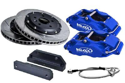 20 AR330 01X-Blue, V-Maxx Big brake kit 330mm, Blue painted aluminium 4-pots caliper, 164 Alle vanaf 92 KW tot 148/150 KW / 2.5TD 92 KW only, 932, Bouwj. 10/97 - 99, Wheelsize: 17 inch or more, 330mm , 2-piece slotted high carbon steel brake discs