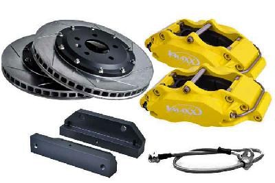 20 AR330 01X-Yellow, V-Maxx Big brake kit 330mm, Yellow painted aluminium 4-pots caliper, 164 Alle vanaf 92 KW tot 148/150 KW / 2.5TD 92 KW only, 932, Bouwj. 10/97 - 99, Wheelsize: 17 inch or more, 330mm , 2-piece slotted high carbon steel brake discs