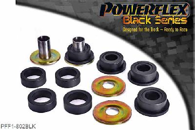 PFF1-802BLK, Powerflex Polyurethane Racing, Front Lower Wishbone Rear Bush, Alfa Romeo 145, 146, 155 (1992-2000), These bushes are designed to fit genuine control arms. If non genuine arms are fitted and you find the stainless steel sleeve not to fit onto the wishbone, please contact us with dimensions of the wishbone pin as you will require modified sleeves.  PFF1-802 kit comes with different sized rings. Please select the correct ring depending on the rear bracket fitted.Use the smaller ring (802b) with the aluminium bracket and 802c with the pressed steel bracket.It is only possible to fit these bushes after removing the arms from the car.For arms fitted with the pressed steel rear bracket, the rubber bush may need to beburned out using a blowtorch, firstly and then the bracket cleaned thoroughly to ensure a good surface.WE RECOMMEND THE USE OF LOCTITE 648 OR 848 TO SECURE CENTRE SLEEVE TO ARM, 2 stuk(s) benodigd  per auto, 2 stuk(s) benodigd  per auto, prijs per set van 2 stuk(s), prijs per set van 2 stuk(s)