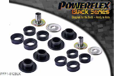 PFF1-812BLK, Powerflex Polyurethane Racing, Front Lower Wishbone Rear Bush, Alfa Romeo 147 (2000-2010), 156 (1997-2007), GT (2003-2010), These bushes are designed to fit genuine control arms. If non genuine arms are fitted and you find the stainless steel sleeve not to fit onto the wishbone, please contact us with dimensions of the wishbone pin as you will require modified sleeves. There can be an issue with the pin diameter for PFF1-812 sleeves on non-genuine arms.   The genuine arms have a pin diameter of 20mm, the non genuine arms have a pin diameter of 21.3mm.  If you have arms with 21.3mm pin for the 812 bush then telephone and we will send you replacements. PFF1-812 kit also comes with different sized rings. Select the correct ring depending on the rear bracket fitted.   Use smaller ring (802b) with the aluminium bracket and 802c with the pressed steel bracket.   It is only possible to fit these bushes after removing the arms from the car.   For arms fitted with the pressed steel rear bracket the rubber bush may need to be burned out using a blowtorch, then the bracket cleaned up to ensure a good surface. WE RECOMMEND THE USE OF LOCTITE 648 OR 848 TO SECURE CENTRE SLEEVE TO ARM, 2 stuk(s) benodigd  per auto, 2 stuk(s) benodigd  per auto, prijs per set van 2 stuk(s), prijs per set van 2 stuk(s)